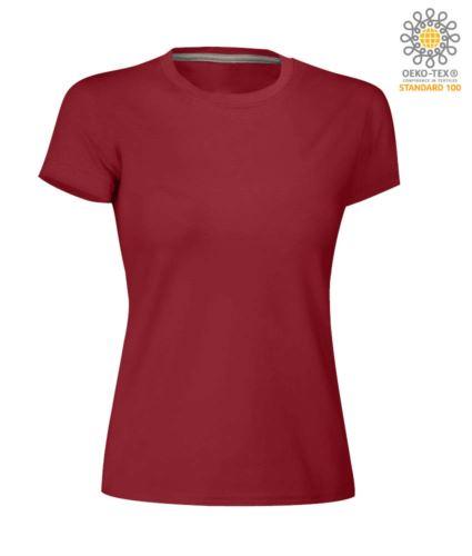 T-shirt donna girocollo a maniche corte da lavoro in cotone, colore bordeaux