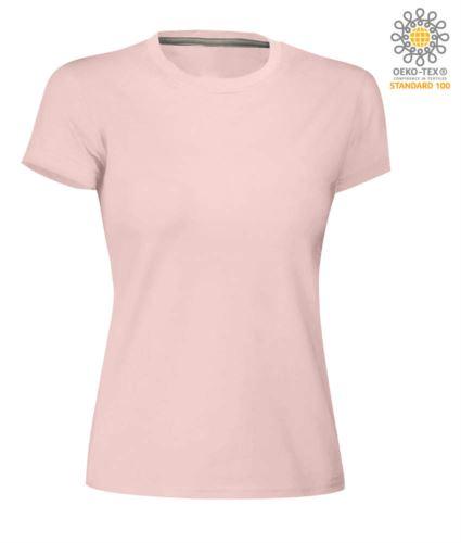 T-shirt donna girocollo a maniche corte da lavoro in cotone, colore rosa shadow