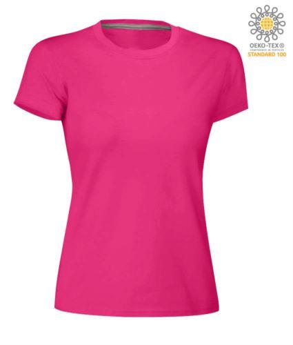 T-shirt donna girocollo a maniche corte da lavoro in cotone, colore fucsia