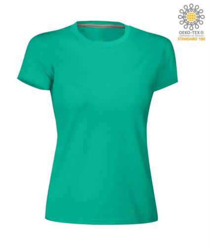 T-shirt donna girocollo a maniche corte da lavoro in cotone, colore emerald green