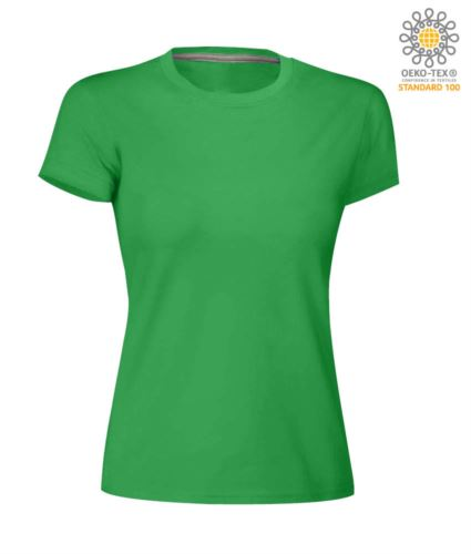 T-shirt donna girocollo a maniche corte da lavoro in cotone, colore jelly green