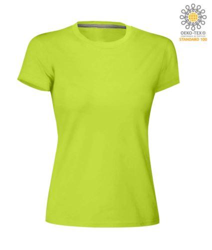 T-shirt donna girocollo a maniche corte da lavoro in cotone, colore verde chiaro