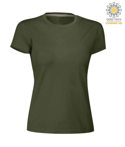 T-shirt donna girocollo a maniche corte da lavoro in cotone, colore verde scuro