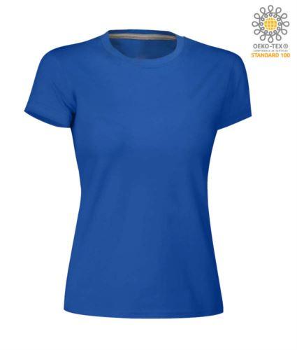 T-shirt donna girocollo a maniche corte da lavoro in cotone, colore blu royal