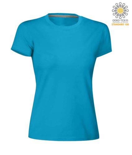 T-shirt donna girocollo a maniche corte da lavoro in cotone, colore light blu royal