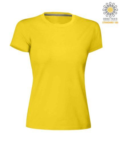 T-shirt donna girocollo a maniche corte da lavoro in cotone, colore giallo