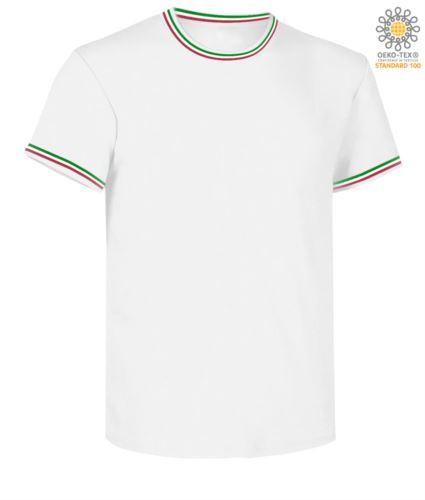 T-Shirt maniche corte girocollo, con dettaglio tricolore su colletto e fondo manica, colore bianco