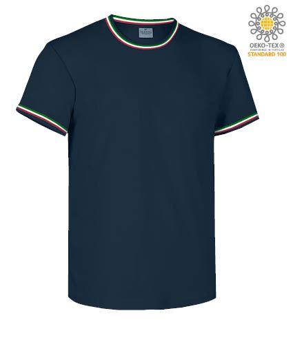 T-Shirt maniche corte girocollo, con dettaglio tricolore su colletto e fondo manica, colore blu royal