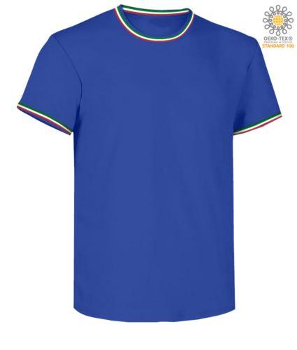 T-Shirt maniche corte girocollo, con dettaglio tricolore su colletto e fondo manica, colore azzurro royal