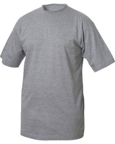 T-shirt girocollo, maniche corte, collo in costina con elastane, colore grigio melange