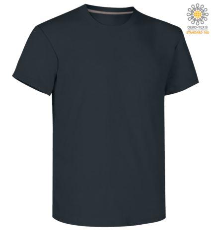 T-shirt girocollo a maniche corte uomo da lavoro in cotone, colore blu navy
