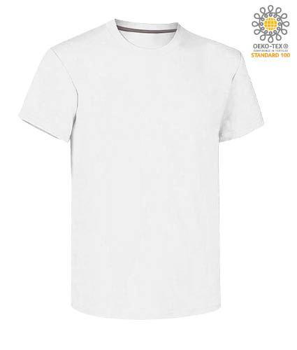 T-shirt girocollo a maniche corte uomo da lavoro in cotone, colore bianco