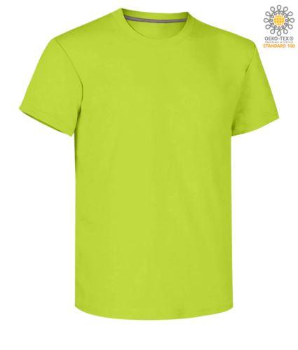 T-shirt girocollo a maniche corte uomo da lavoro in cotone, colore limo light