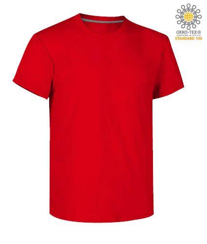 T-shirt girocollo a maniche corte uomo da lavoro in cotone, colore rosso