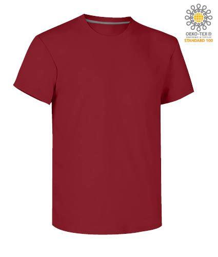 T-shirt girocollo a maniche corte uomo da lavoro in cotone, colore bordeaux