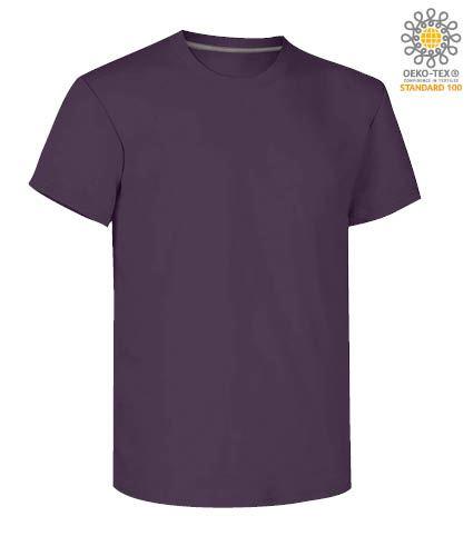 T-shirt girocollo a maniche corte uomo da lavoro in cotone, colore viola indigo