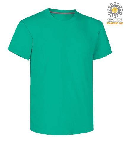 T-shirt girocollo a maniche corte uomo da lavoro in cotone, colore emerald green
