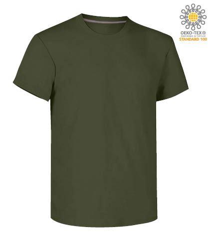 T-shirt girocollo a maniche corte uomo da lavoro in cotone, colore verde militare