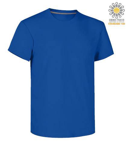 T-shirt girocollo a maniche corte uomo da lavoro in cotone, colore blu royal