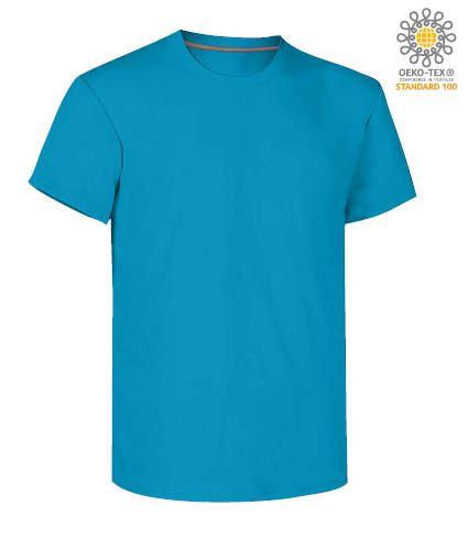T-shirt girocollo a maniche corte uomo da lavoro in cotone, colore ligth blu royal