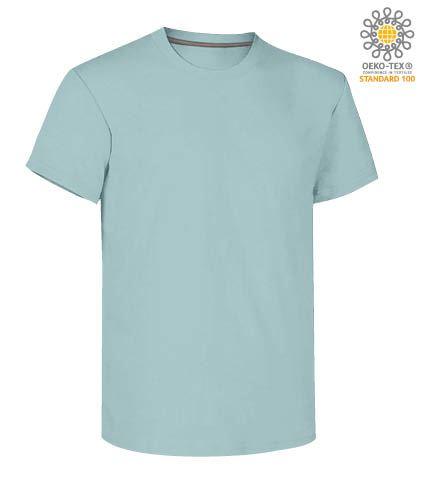 T-shirt girocollo a maniche corte uomo da lavoro in cotone, colore aquamarine