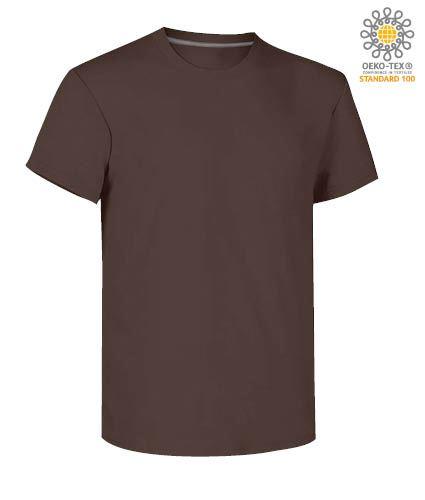 T-shirt girocollo a maniche corte uomo da lavoro in cotone, colore marrone