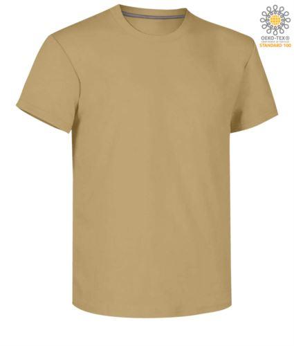 T-shirt girocollo a maniche corte uomo da lavoro in cotone, colore warm brown