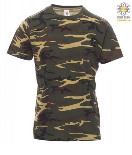 T-shirt girocollo a maniche corte uomo da lavoro in cotone, colore mimetico