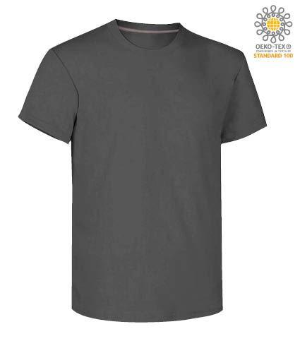 T-shirt girocollo a maniche corte uomo da lavoro in cotone, colore steel grey