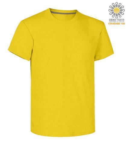 T-shirt girocollo a maniche corte uomo da lavoro in cotone, colore giallo