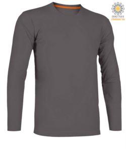 T-shirt girocollo manica lunga in cotone. Colore smoke