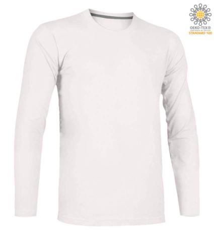 T-shirt girocollo manica lunga in cotone. Colore bianco
