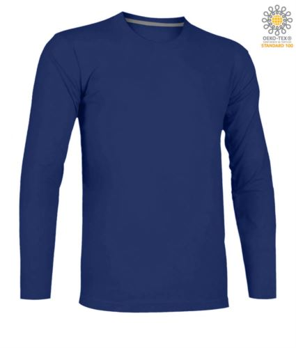 T-shirt girocollo manica lunga in cotone. Colore azzurro royal