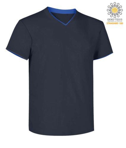 T-Shirt manica corta scollo a V, colletto interno e fondo manica in contrasto, colore blu navy e azzurro