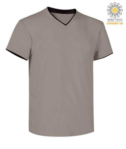 T-Shirt manica corta scollo a V, colletto interno e fondo manica in contrasto, colore grigio chiaro e nero