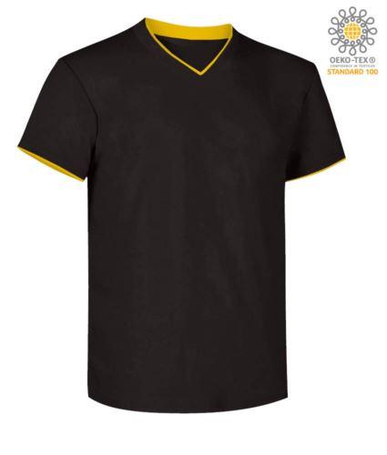 T-Shirt manica corta scollo a V, colletto interno e fondo manica in contrasto, colore nero e giallo