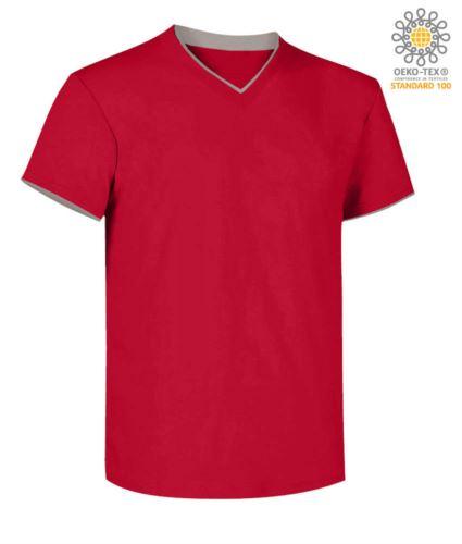 T-Shirt manica corta scollo a V, colletto interno e fondo manica in contrasto, colore rosso e grigio