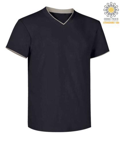 T-Shirt manica corta scollo a V, colletto interno e fondo manica in contrasto, colore blu navy e grigio