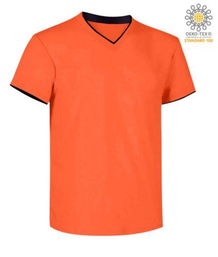 T-Shirt manica corta scollo a V, colletto interno e fondo manica in contrasto, colore arancione e nero