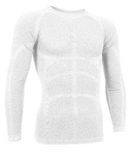 T-shirt termica a manica lunga in tessuto second skin, girocollo, traspirante a fibra cava, colore bianco