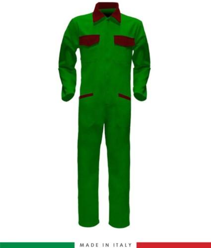 Tuta intera bicolore, collo a camicia, cerniera centrale coperta, elastico in vita. Possibilità di produzione personalizzata. Made in Italy. Colore Verde Brillante/Rosso