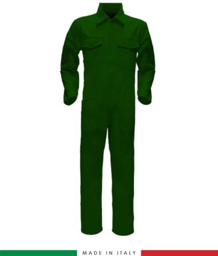 Tuta intera bicolore, collo a camicia, cerniera centrale coperta, elastico in vita. Possibilità di produzione personalizzata. Made in Italy. Colore Verde Bottiglia