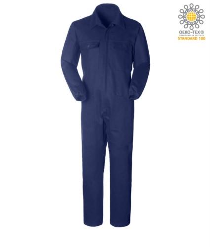 Tuta da lavoro intera, multitasche con collo a camicia, chiusura con cerniera coperta, elastico ai polsi, colore blu