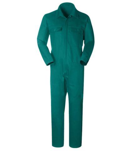 Tuta da lavoro con collo a camicia, multitasche, in cotone, elastico ai polsi. colore verde