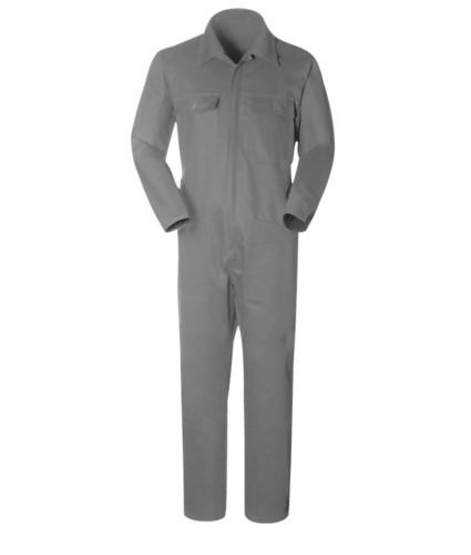 Tuta da lavoro con collo a camicia, multitasche, in cotone, elastico ai polsi. colore grigio