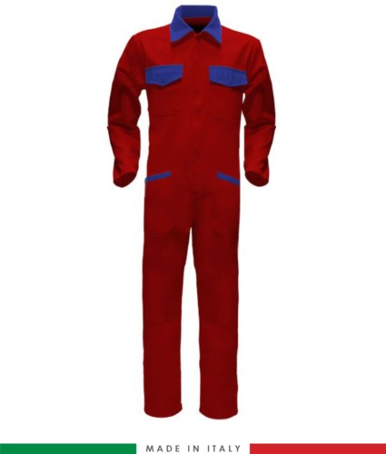 Tuta intera bicolore, collo a camicia, cerniera centrale coperta, elastico in vita. Possibilità di produzione personalizzata. Made in Italy. Colore Rosso/Azzurro Royal