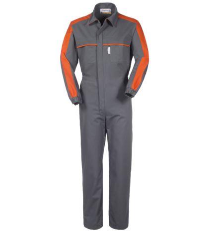 Tuta da lavoro multitasche con dettagli in contrasto sul spalle e petto, polsini con elastico, collo a camicia, colore grigio e arancione