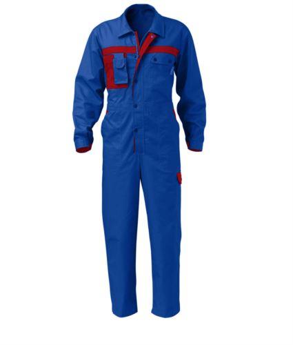Tuta da lavoro multitasche azzurra, abbigliamento professionale da lavoro, tute intere da idraulico