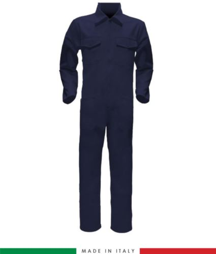 Tuta intera bicolore, collo a camicia, cerniera centrale coperta, elastico in vita. Possibilità di produzione personalizzata. Made in Italy. Colore Blu Navy