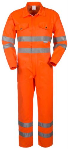 Collo a camicia, due taschini al petto, doppia banda rifrangente su maniche, girovita e fondo manica, colore arancione, certificata EN 20471